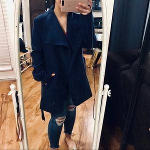 Navy Ambiance Coat with Belt